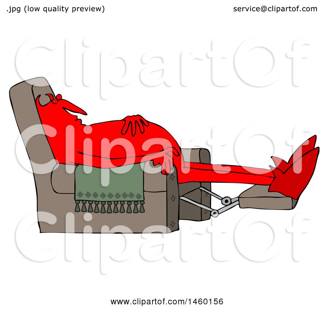 clipart of a chubby red devil sleeping in a recliner chair royalty free vector by djart