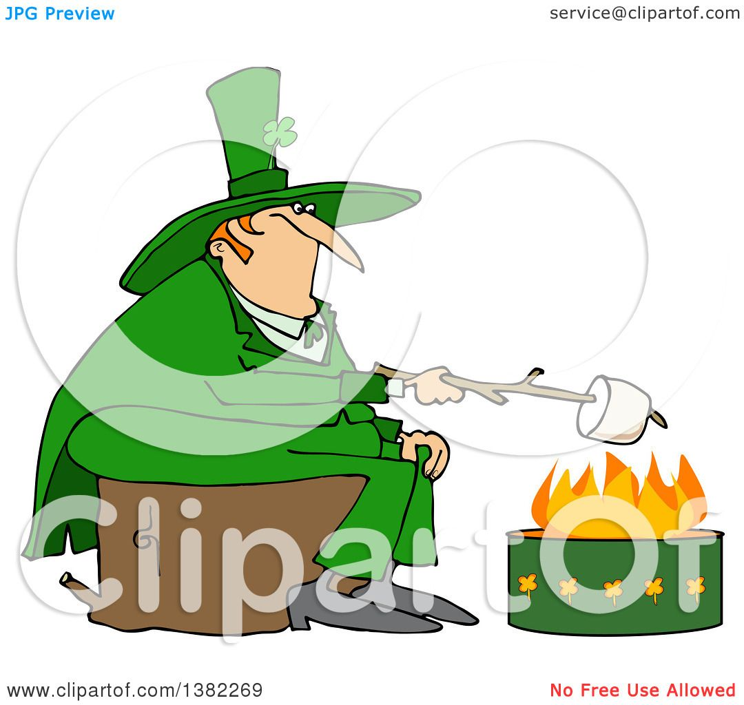 clipart of a st patricks day leprechaun looking back over his