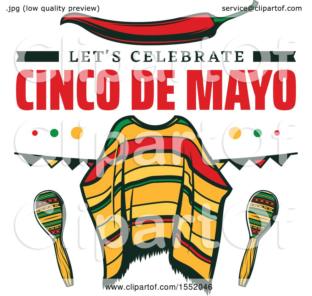 clipart of a cinco de mayo viva mexico design with a poncho royalty free vector illustration. Black Bedroom Furniture Sets. Home Design Ideas