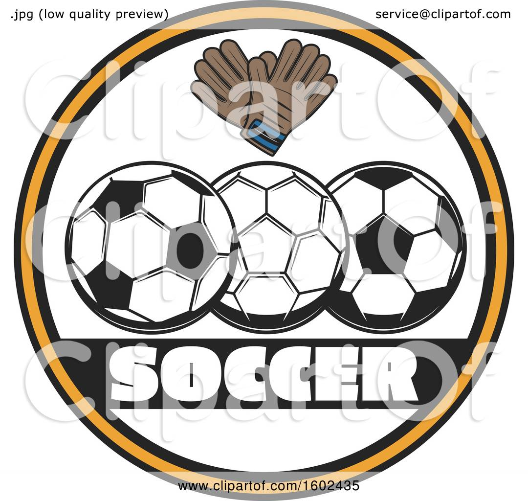 07cf3a06fa1 Clipart of a Circle Frame with Soccer Balls and Gloves - Royalty Free  Vector Illustration by Vector Tradition SM