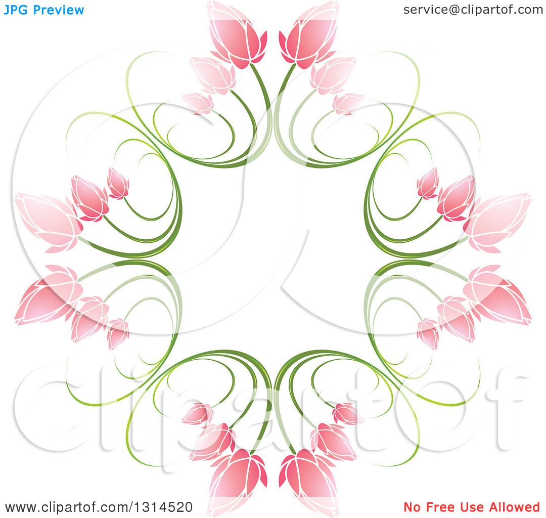 Clipart of a Circle of Green Stems and Pink Flowers 2 ...