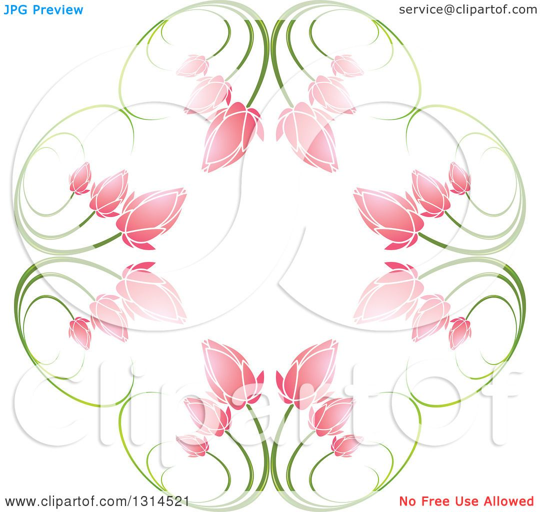 Clipart of a Circle of Green Stems and Pink Flowers ...