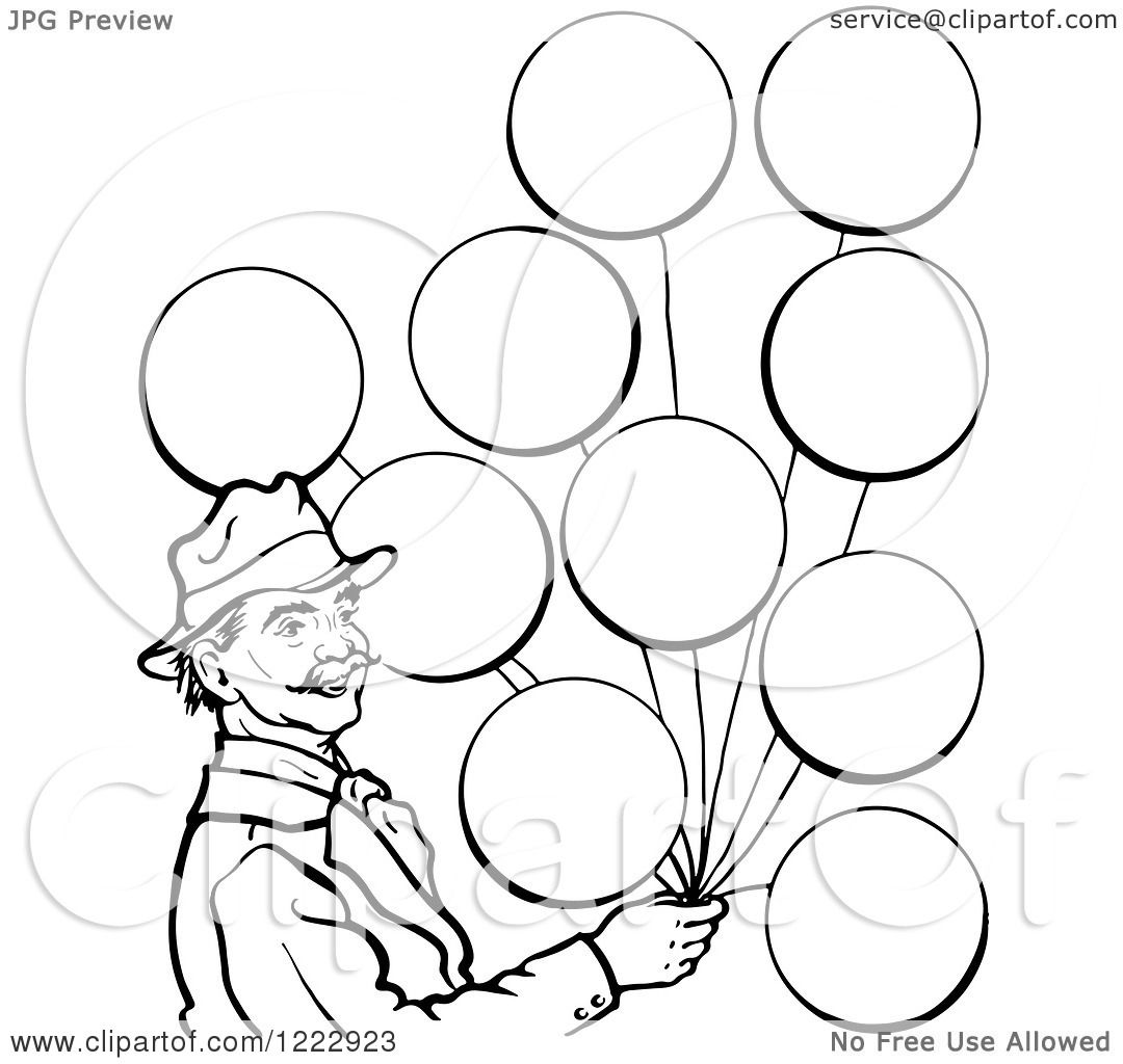 Weather Balloon Drawing Man With Balloons in Black