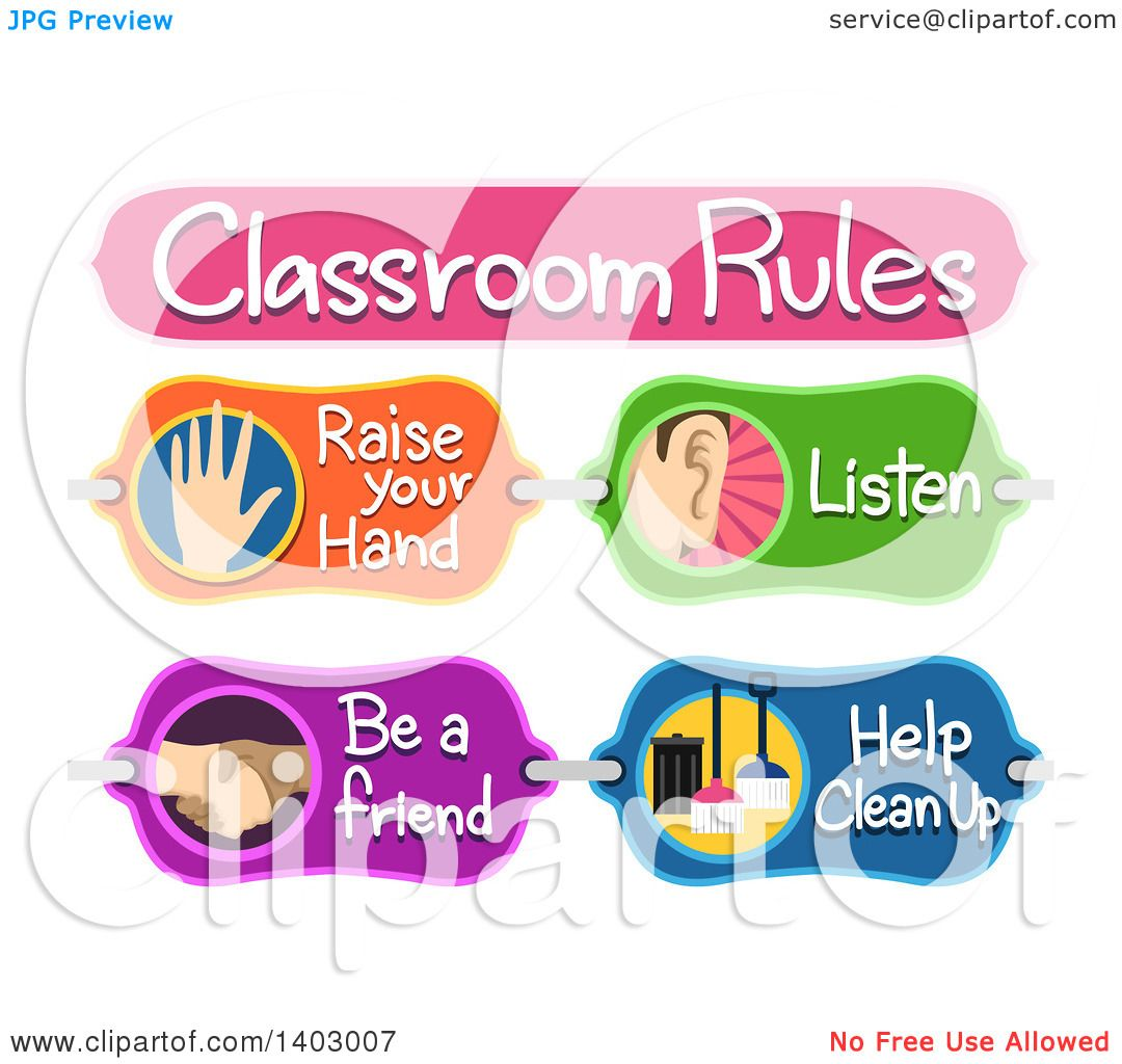 Clipart Of A Classroom Rules Board With Raise Your Hand