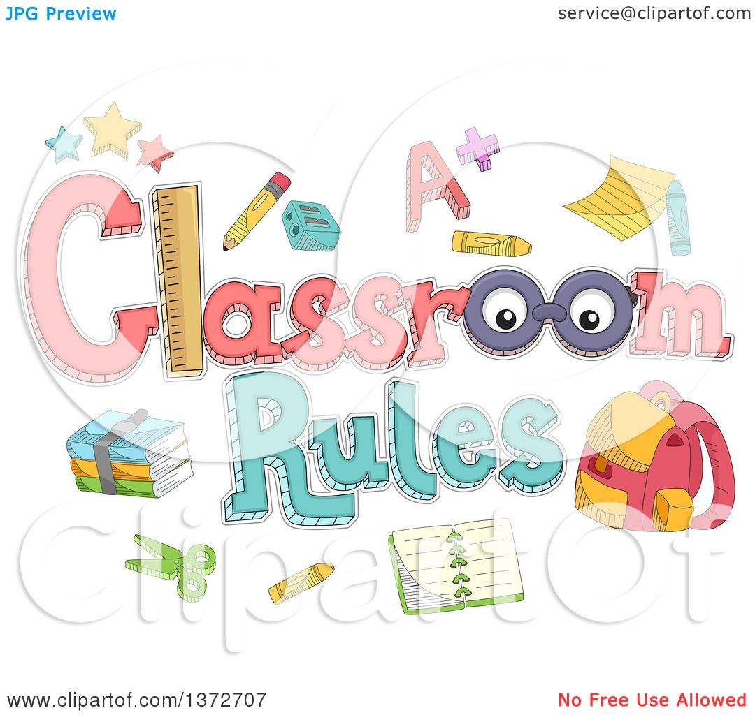 Clipart Of A Classroom Rules Design With Accessories