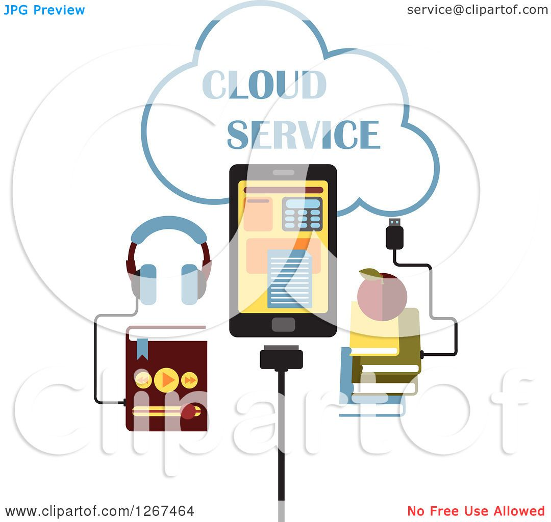 Clipart of a Cloud Service Design with an MP3 Music Player