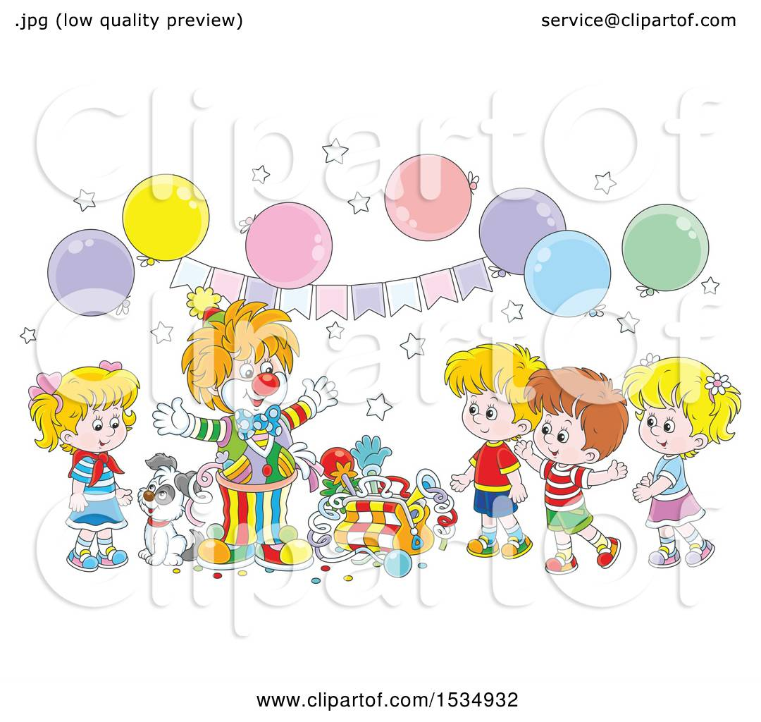 Clipart of a Clown Entertaining Kids at a Birthday Party Royalty