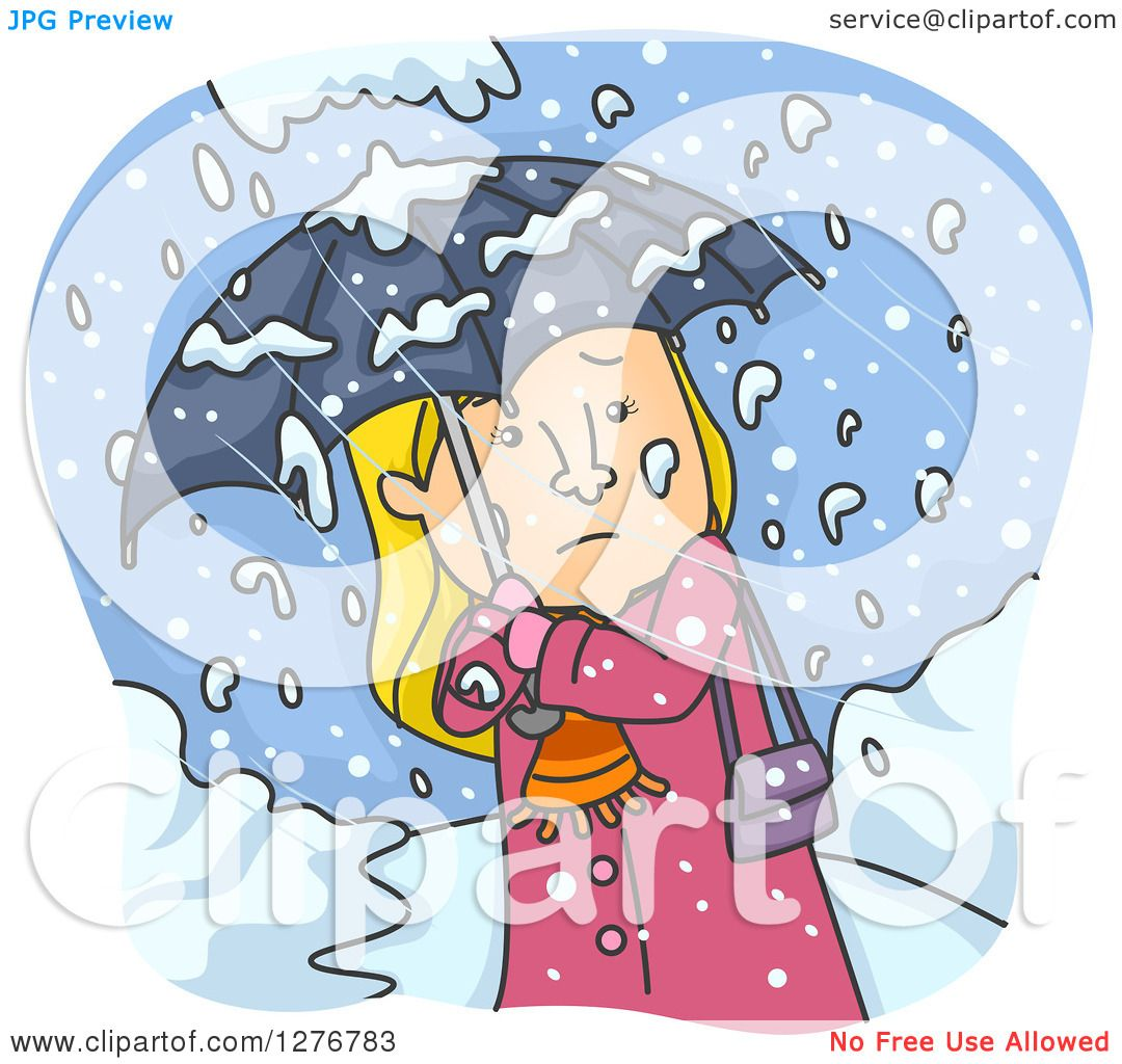 Clipart of a Cold Blond White Woman Walking with an Umbrella in a ...