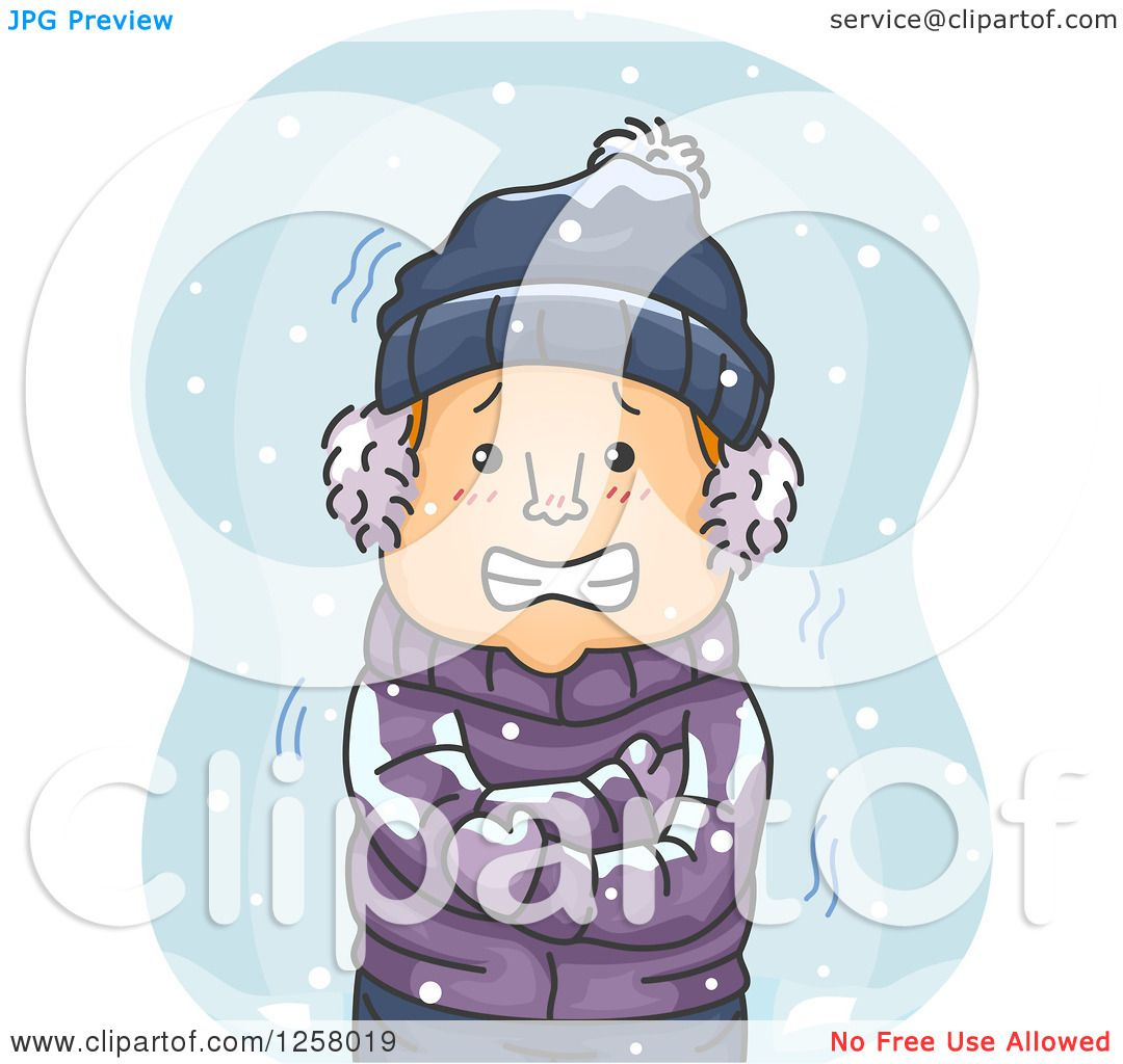 Clipart Of A Cold White Man Shivering In The Snow