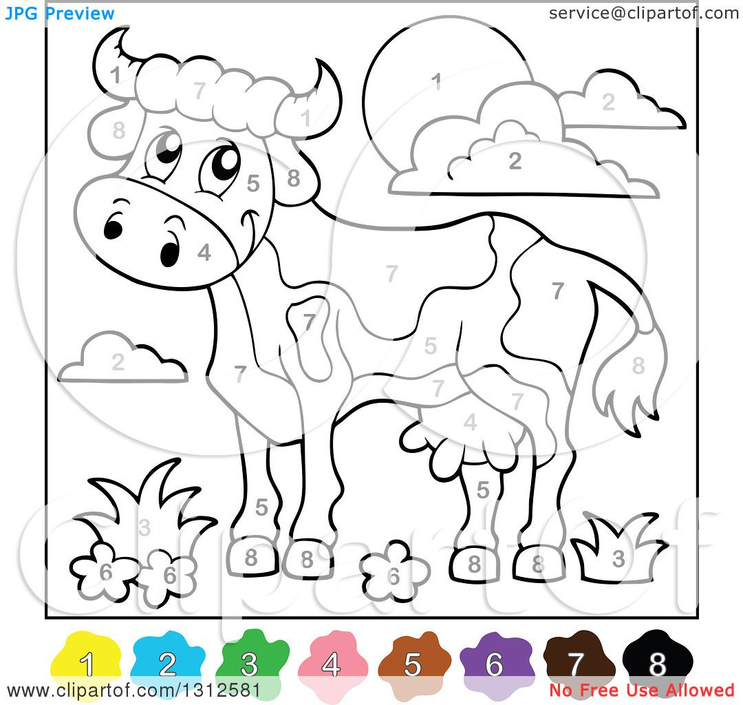 Clipart of a Color by Number Cow, Sun, Flowers and Clouds - Royalty ...