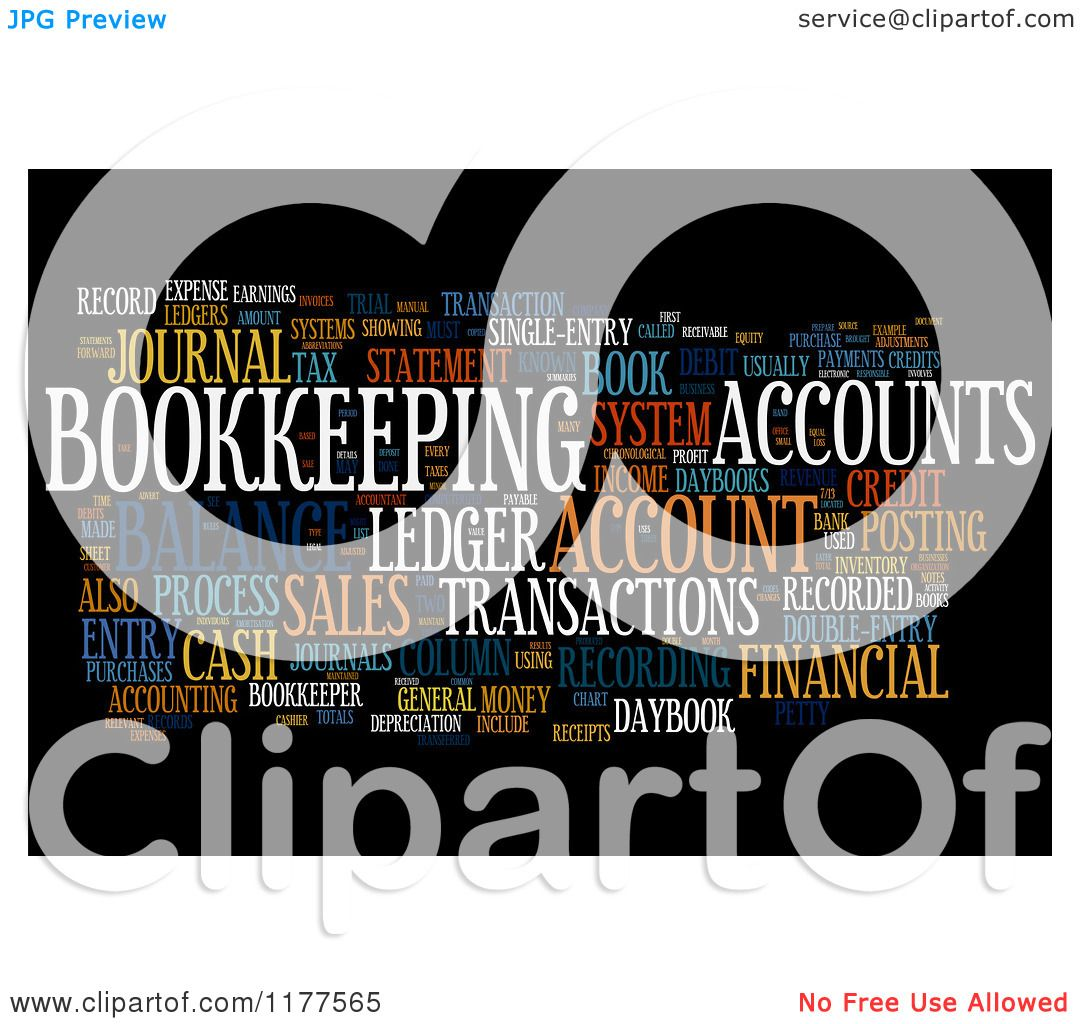 Clipart Of A Colorful Bookkeeping Word Collage On Black