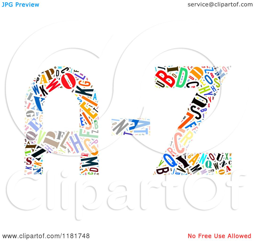 Clipart Of A Colorful English Alphabet A Through Z Collage