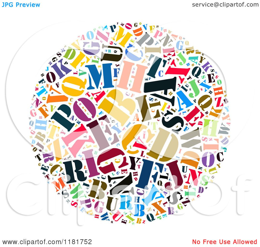 Clipart Of A Colorful English Alphabet Circle Collage 3