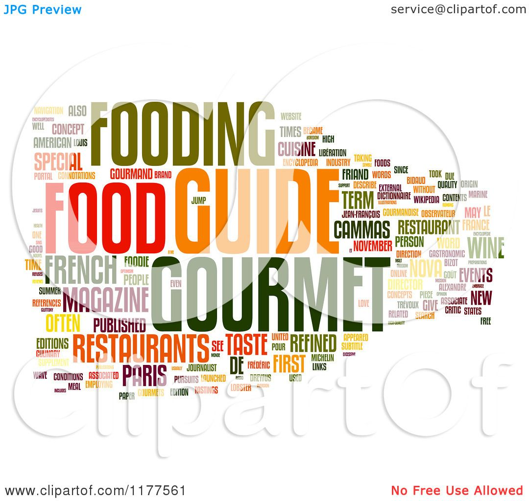 Clipart Of A Colorful Gourmet Food Word Collage On White