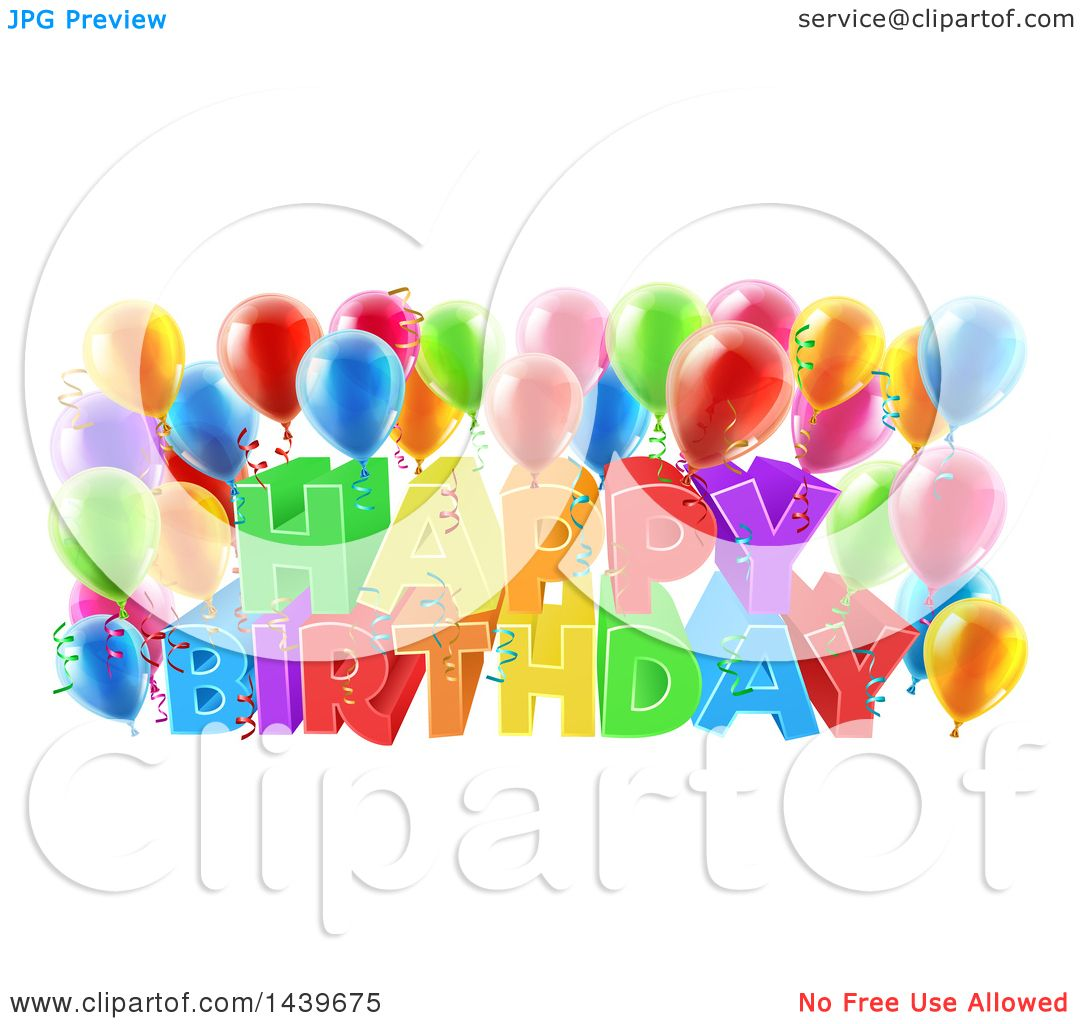 Clipart Of A Colorful Happy Birthday Greeting With Confetti Ribbons