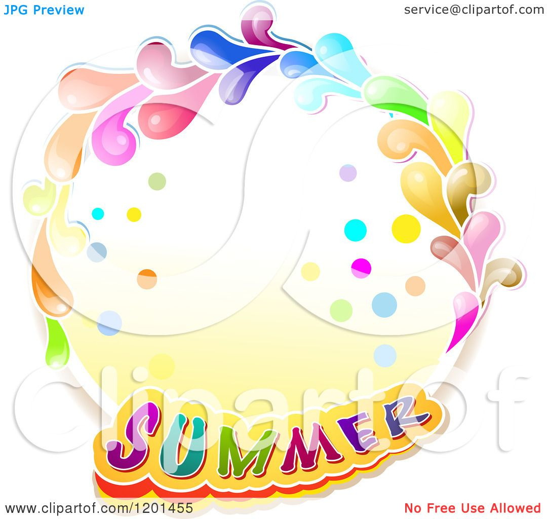 Clipart of a Colorful Round Splash Frame with Summer Text ...