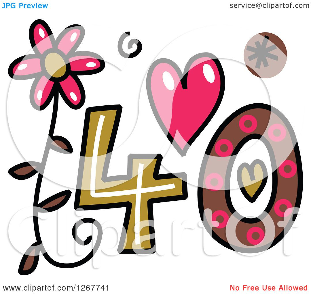 Clipart of a Colorful Sketched Patterned Number 40 ...