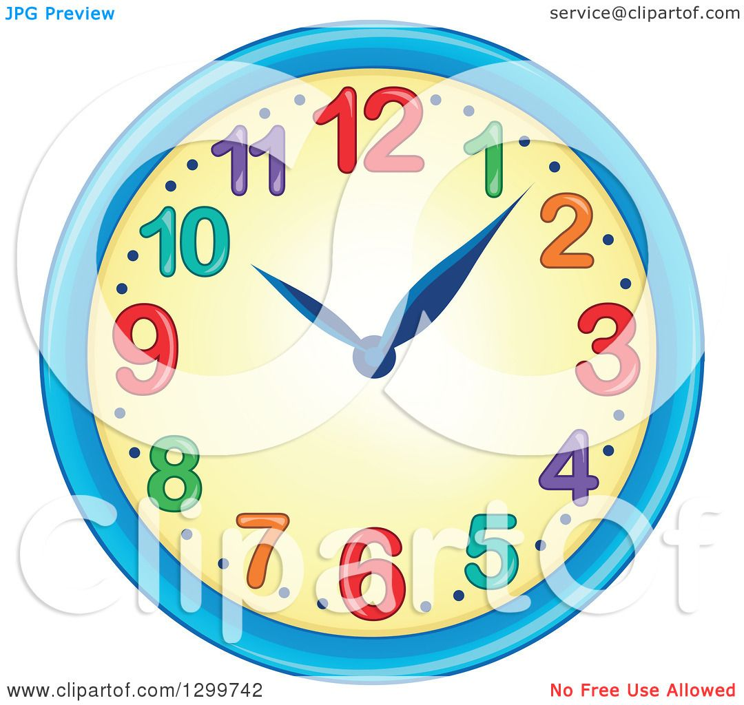 Clipart of a Colorful Wall Clock - Royalty Free Vector Illustration ...