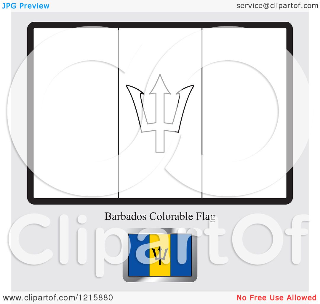 Clipart of a coloring page and sample for a barbados flag for Barbados flag coloring page