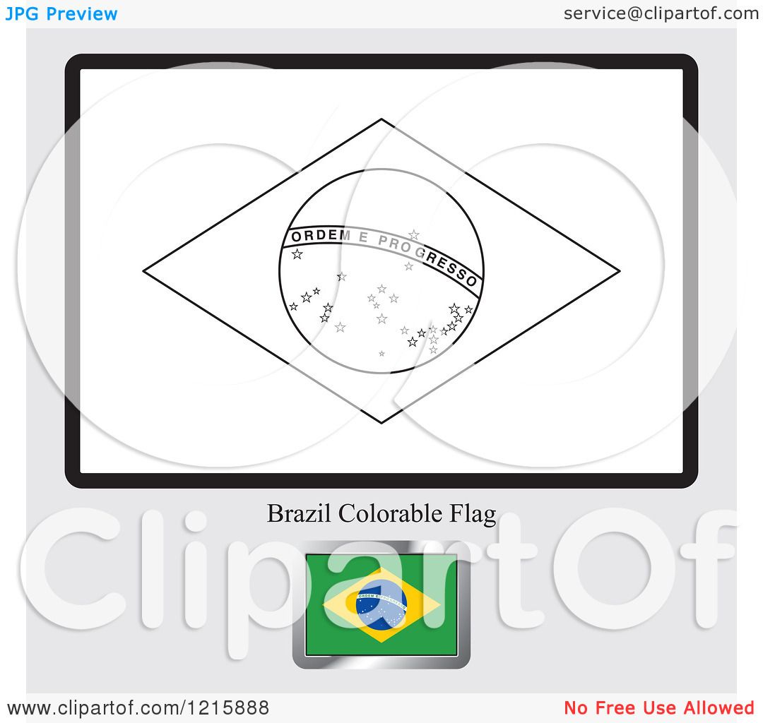 clipart of a coloring page and sample for a brazil flag royalty free vector illustration by lal perera