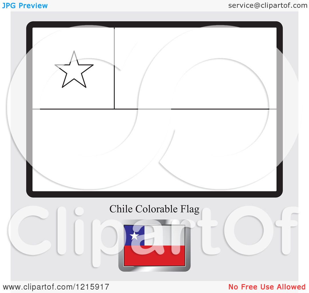 Clipart Of A Coloring Page And Sample For A Chile Flag