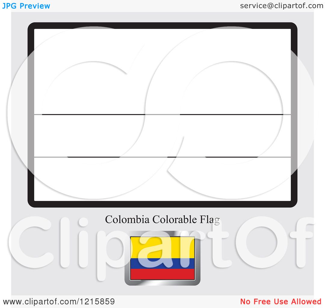 Clipart Of A Coloring Page And Sample For Colombia Flag