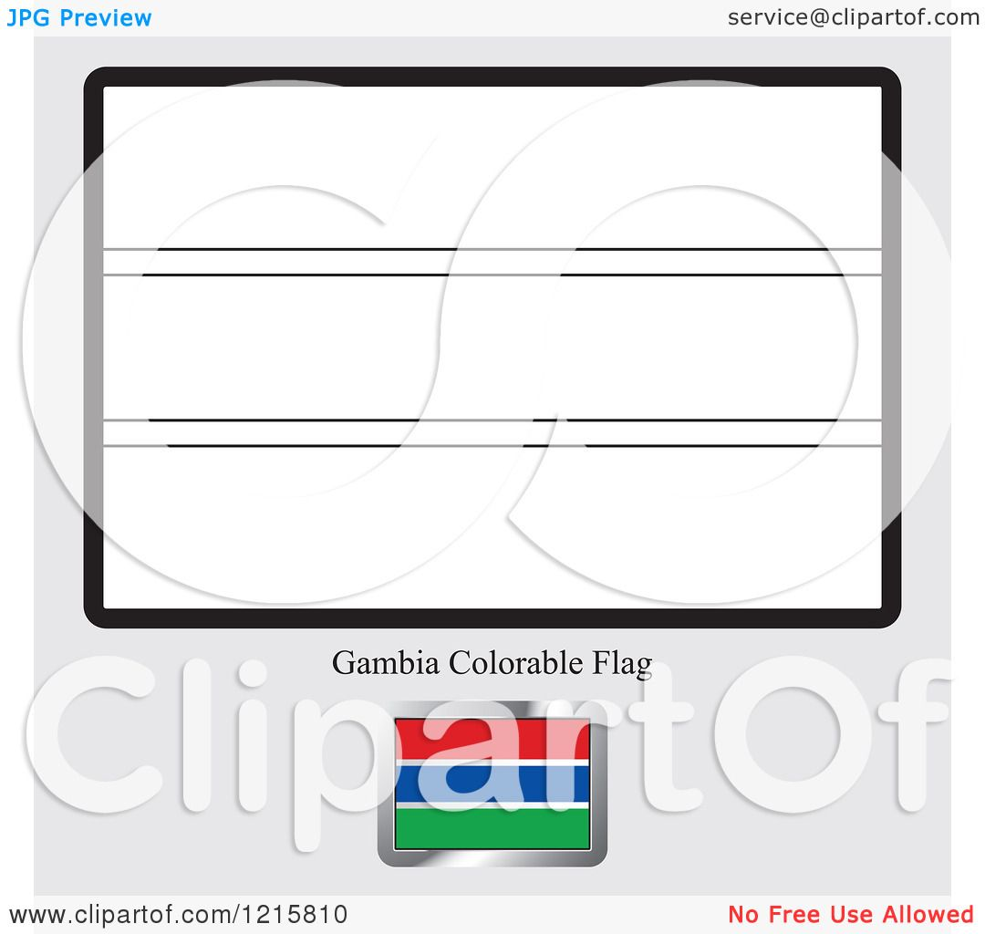 Clipart Of A Coloring Page And Sample For Gambia Flag