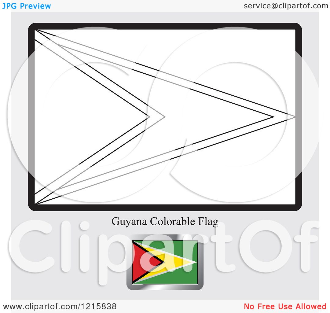 Clipart of a Coloring Page and Sample for a Guyana Flag - Royalty ...