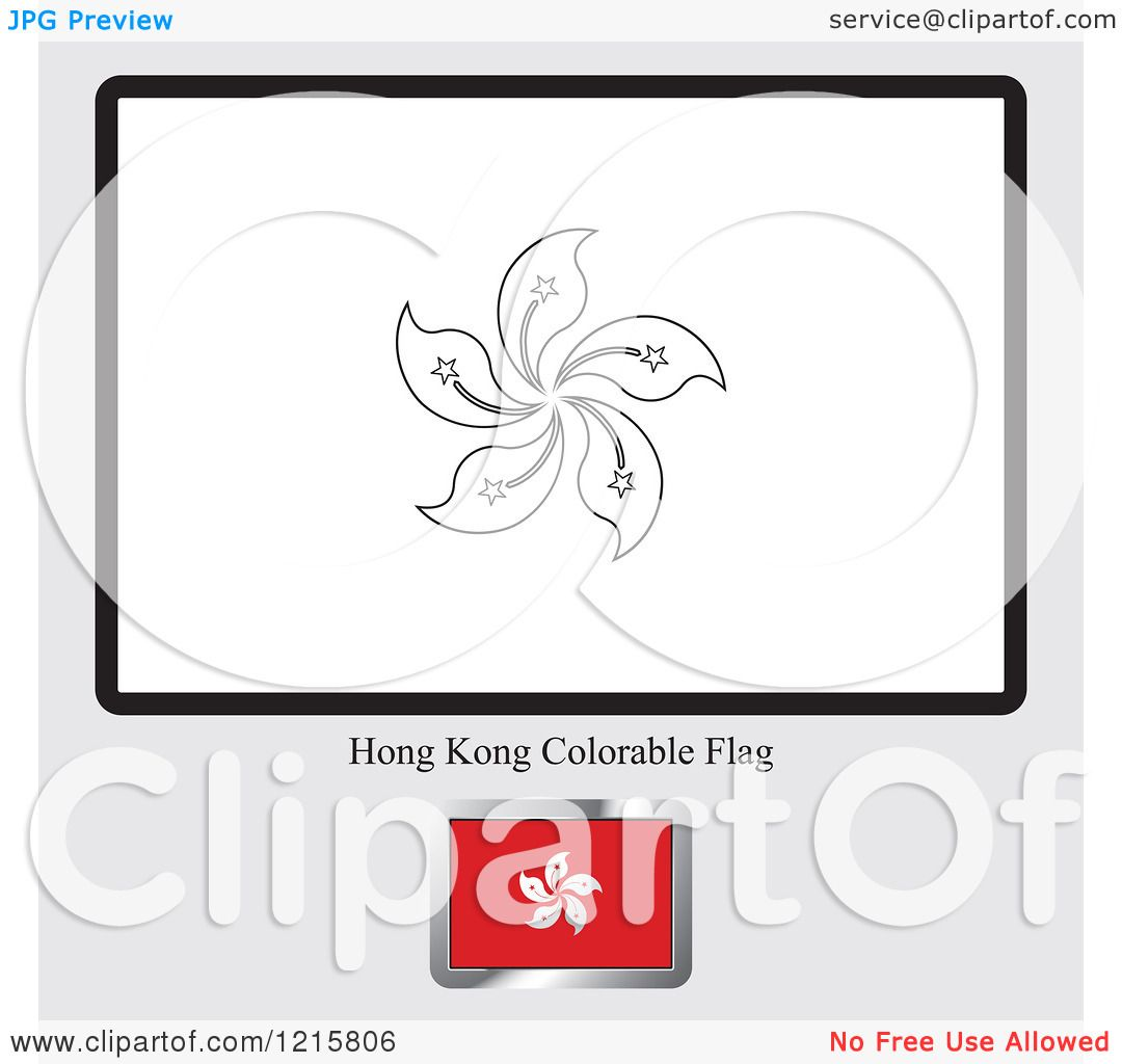 clipart of a coloring page and sample for a hong kong flag