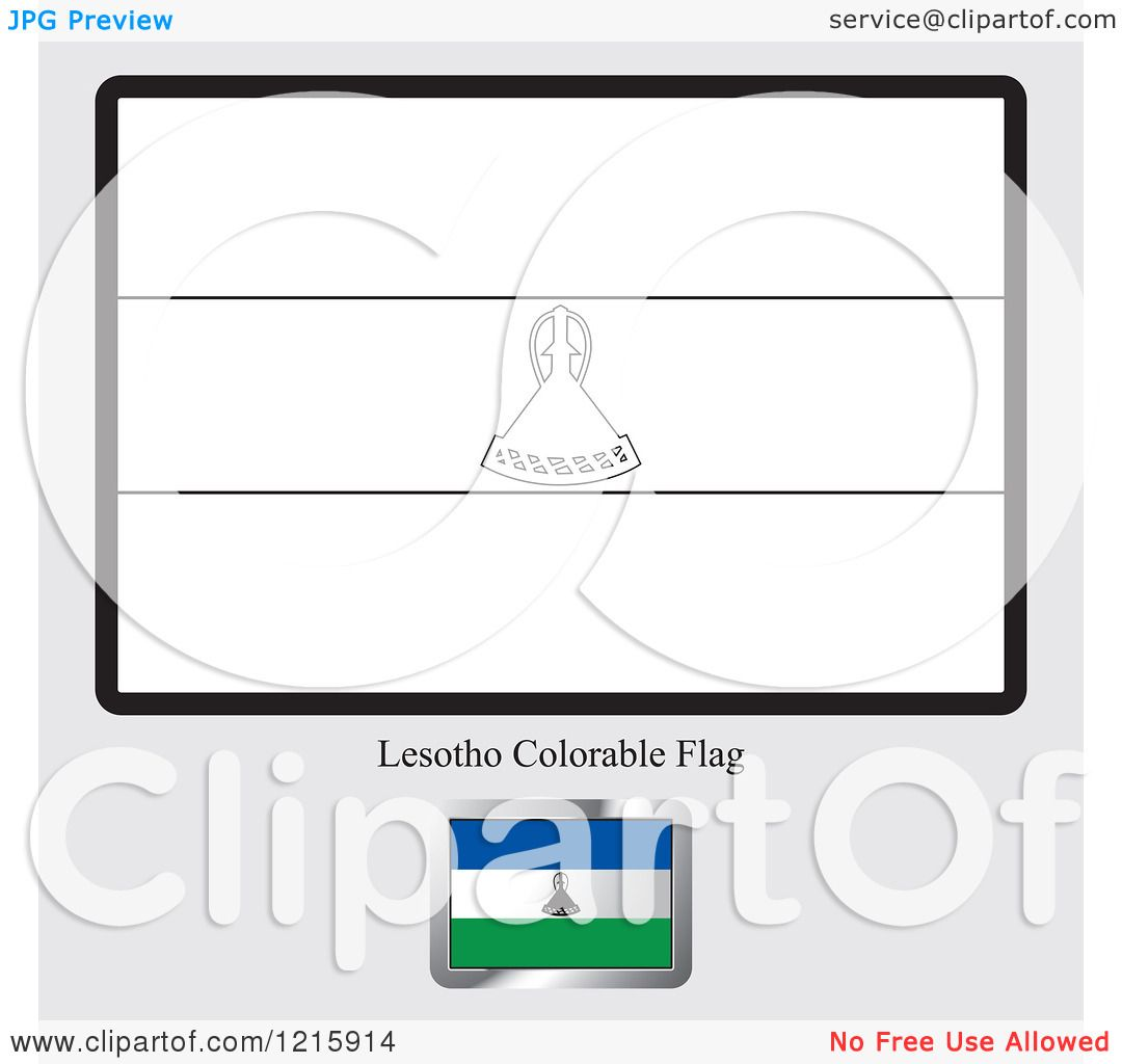Clipart Of A Coloring Page And Sample For Lesotho Flag