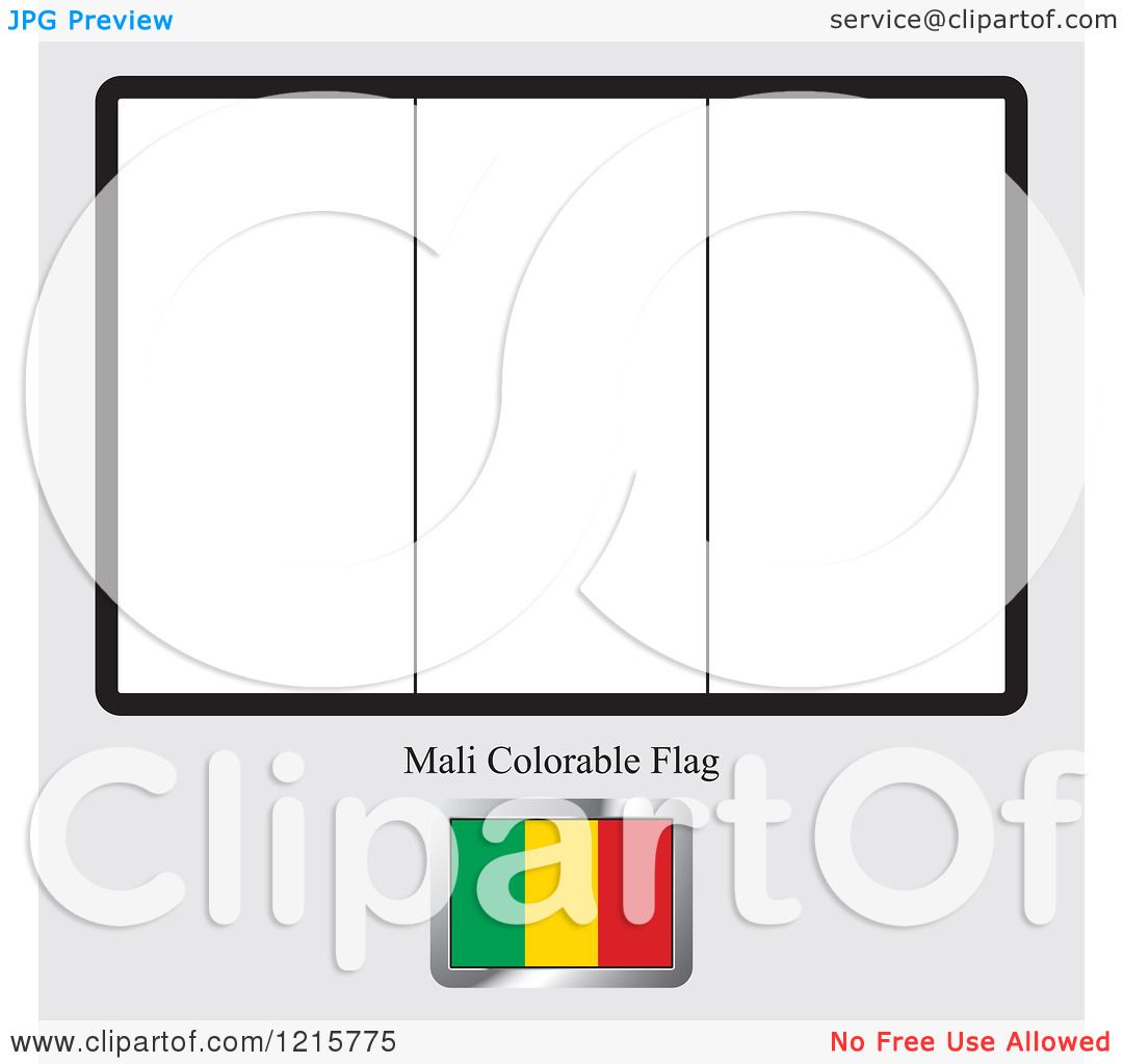 Clipart Of A Coloring Page And Sample For A Mali Flag