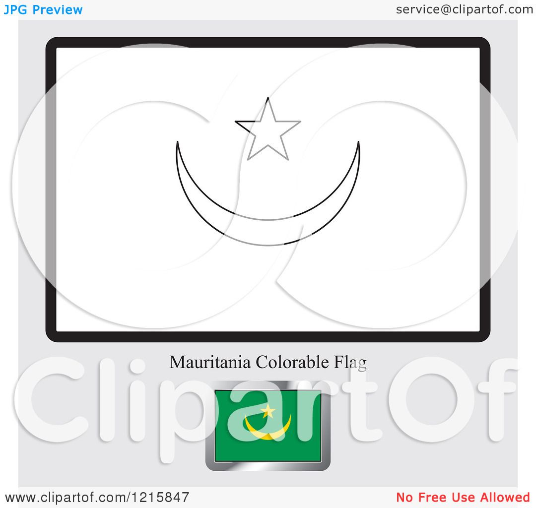 Clipart of a Coloring Page and Sample for a Mauritania Flag ...