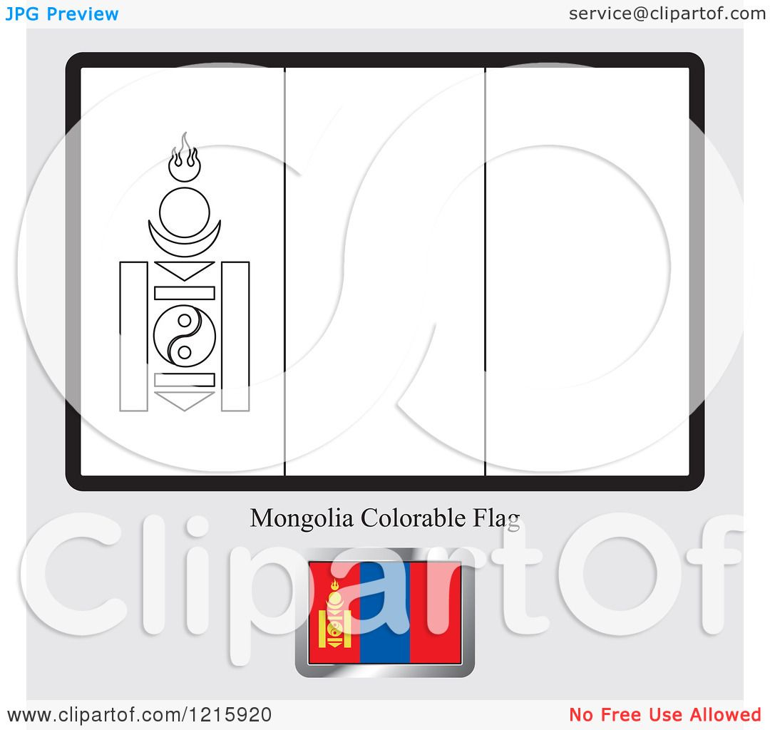 Clipart of a Coloring Page and Sample for a Mongolia Flag Royalty