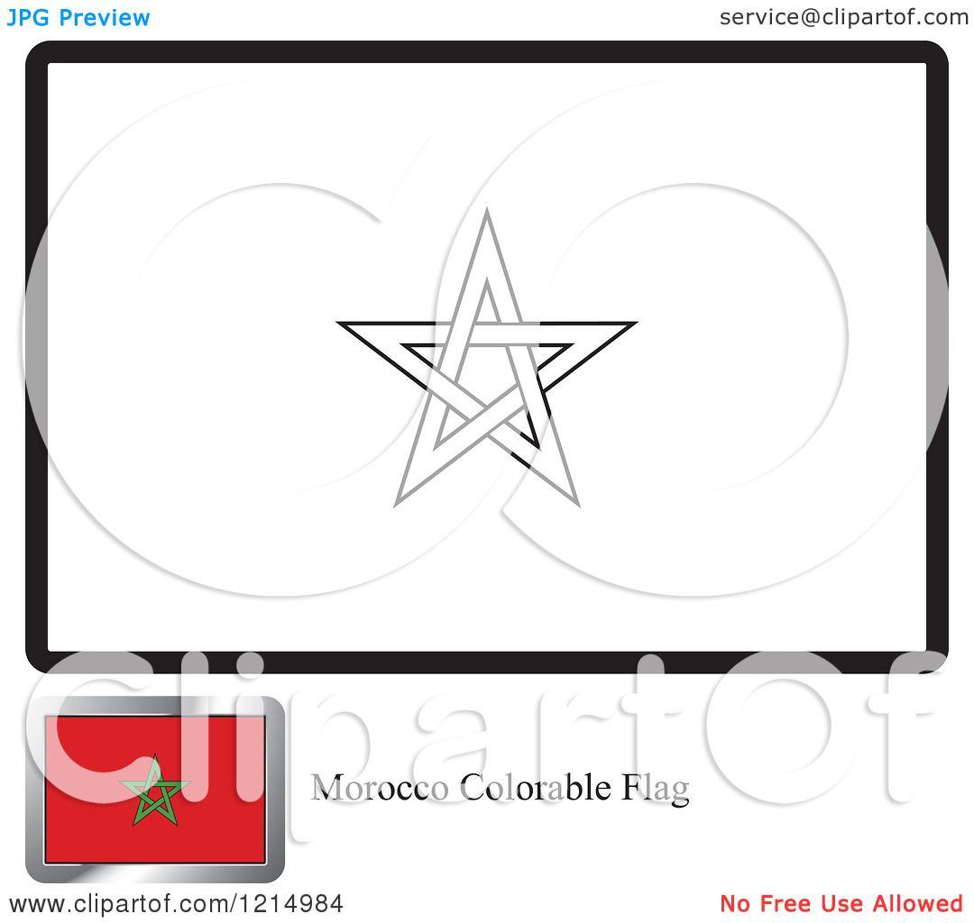 clipart of a coloring page and sample for a morocco flag royalty free vector illustration by lal perera