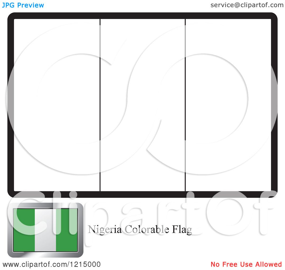 Clipart of a Coloring Page and Sample for a Nigeria Flag