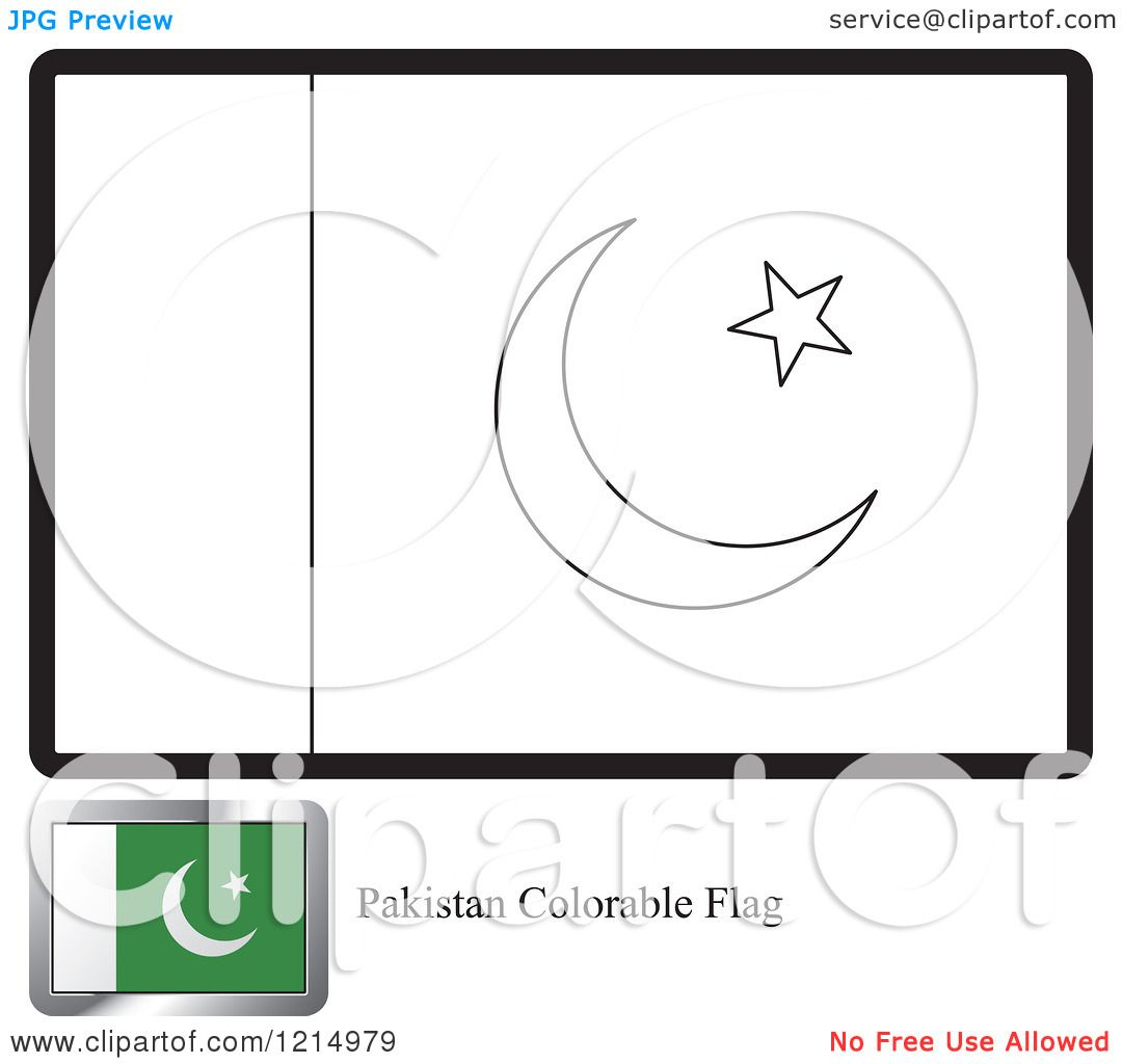 Clipart Of A Coloring Page And Sample For A Pakistan Flag Royalty