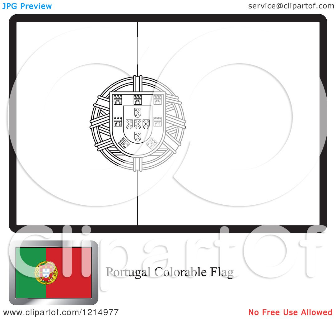 clipart of a coloring page and sample for a portugal flag royalty free vector illustration by lal perera