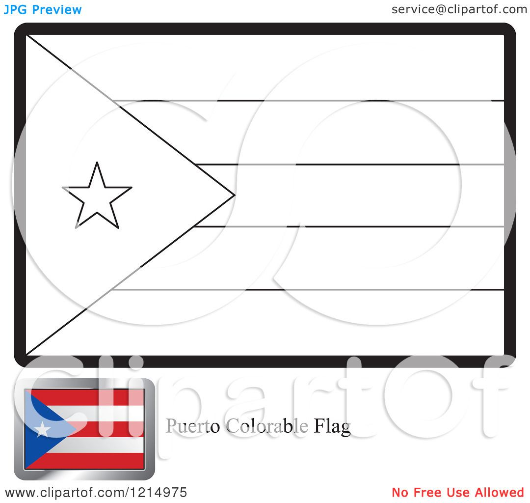 Clipart of a Coloring Page and Sample for a Puerto Rico Flag ...