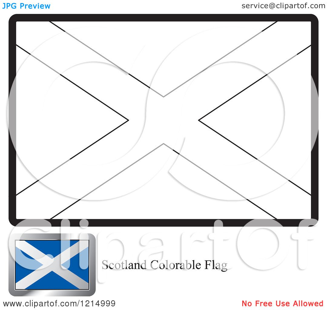 Clipart of a Coloring Page and Sample for a Scotland Flag