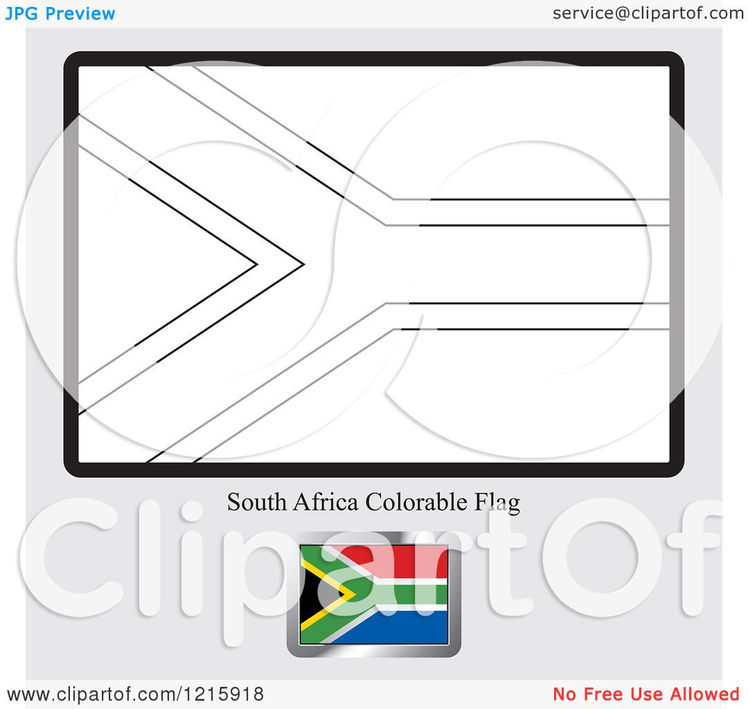 Colouring for adults south africa - Clipart Of A Coloring Page And Sample For A South Africa Flag Royalty Free Vector Illustration By Lal Perera