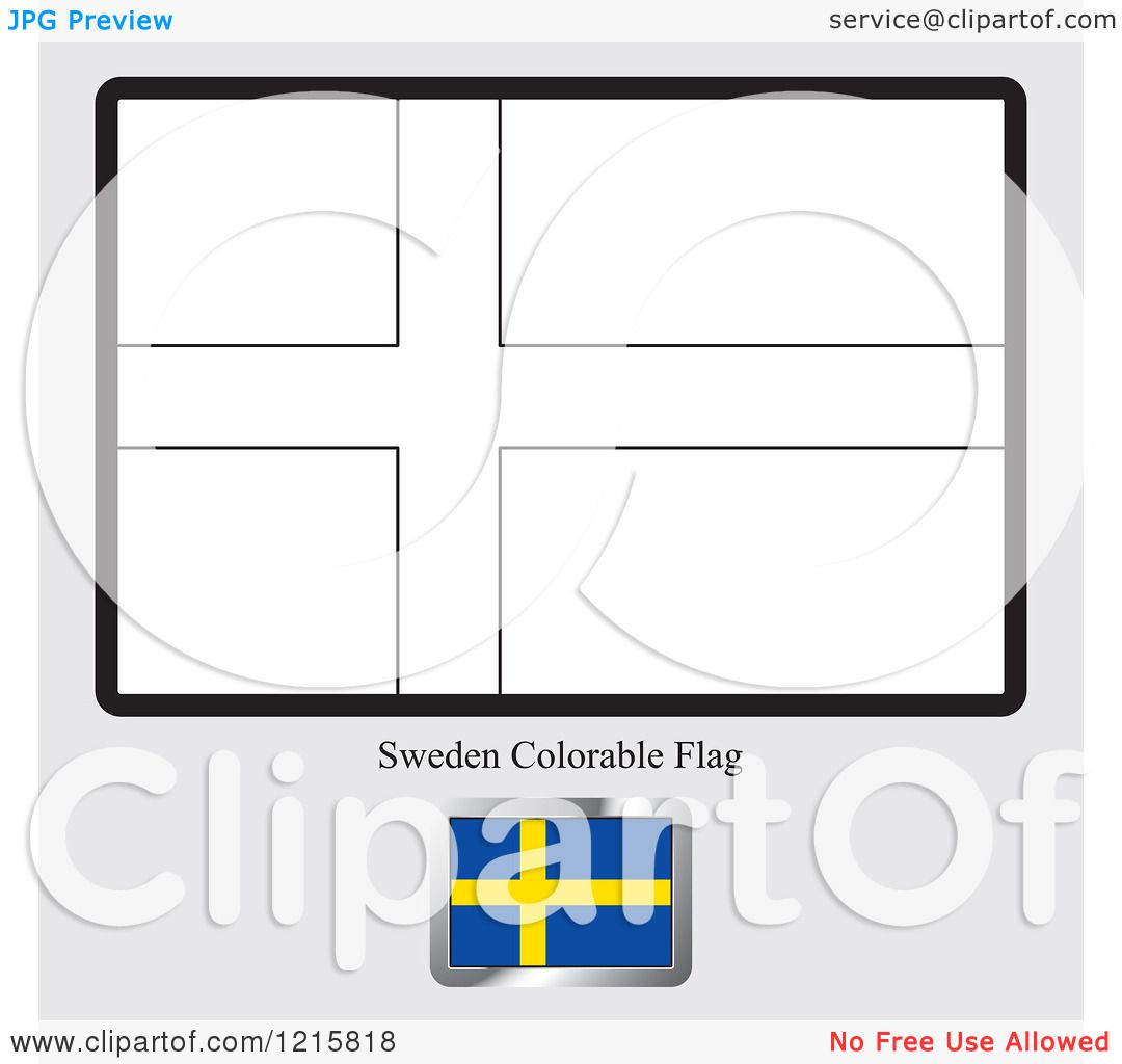 Clipart Of A Coloring Page And Sample For Sweden Flag