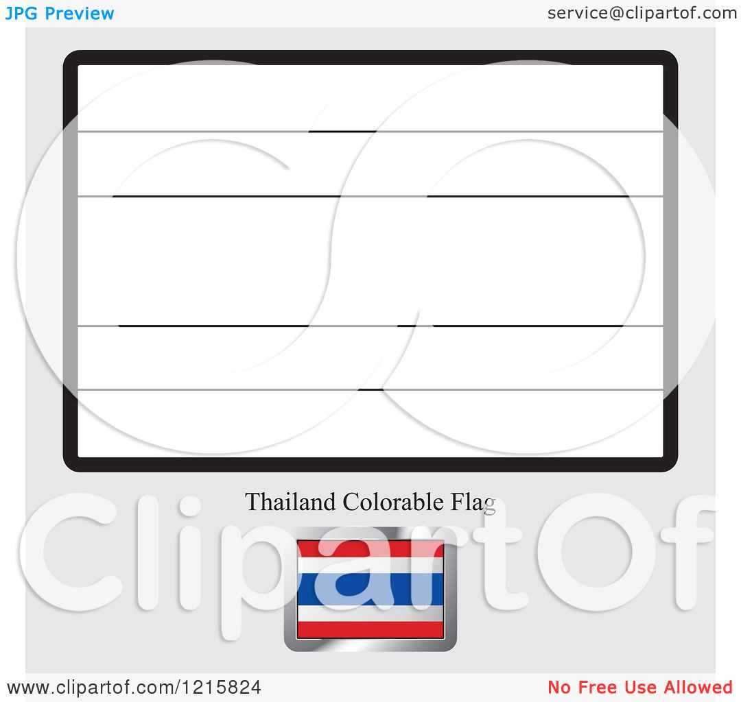 Clipart of a Coloring Page and Sample for a Thailand Flag Royalty