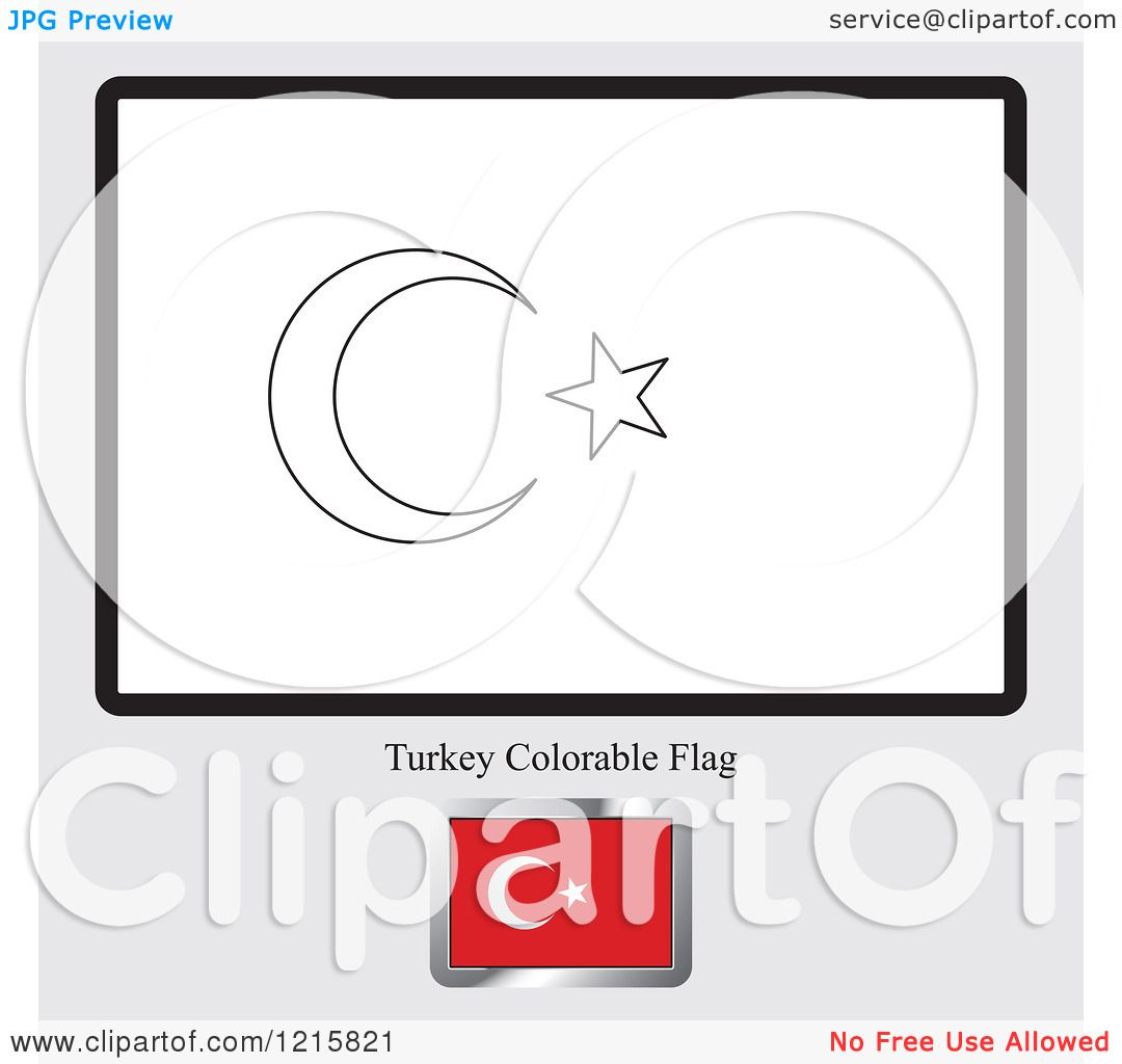 Clipart of a Coloring Page and Sample for a Turkey Flag - Royalty ...