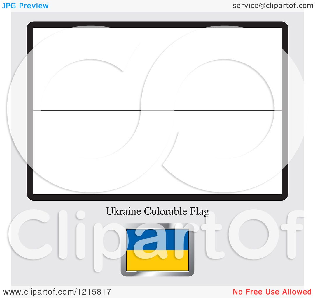 Clipart Of A Coloring Page And Sample For Ukraine Flag