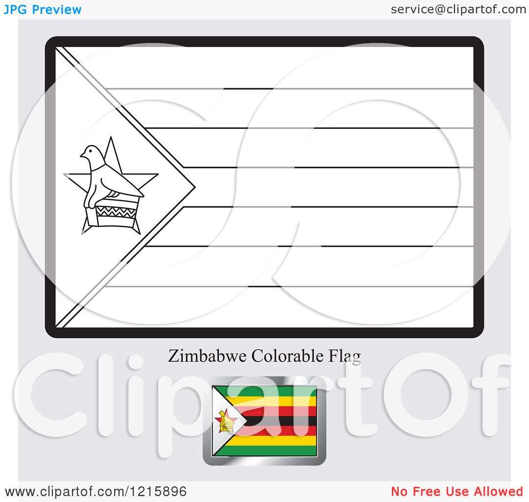 Clipart Of A Coloring Page And Sample For A Zimbabwe Flag