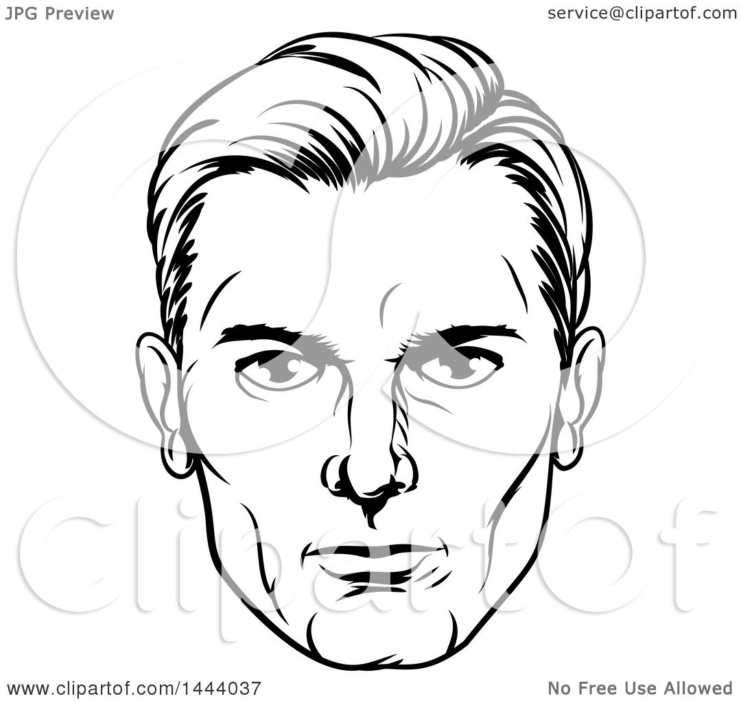 Line Drawing Boy Face : Clipart of a comic styled black and white man s face