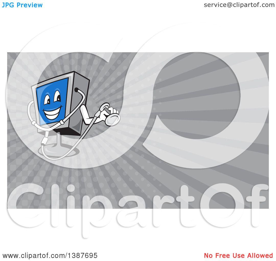 Clipart Of A Computer Monitor Mascot Holding A Diagnostics