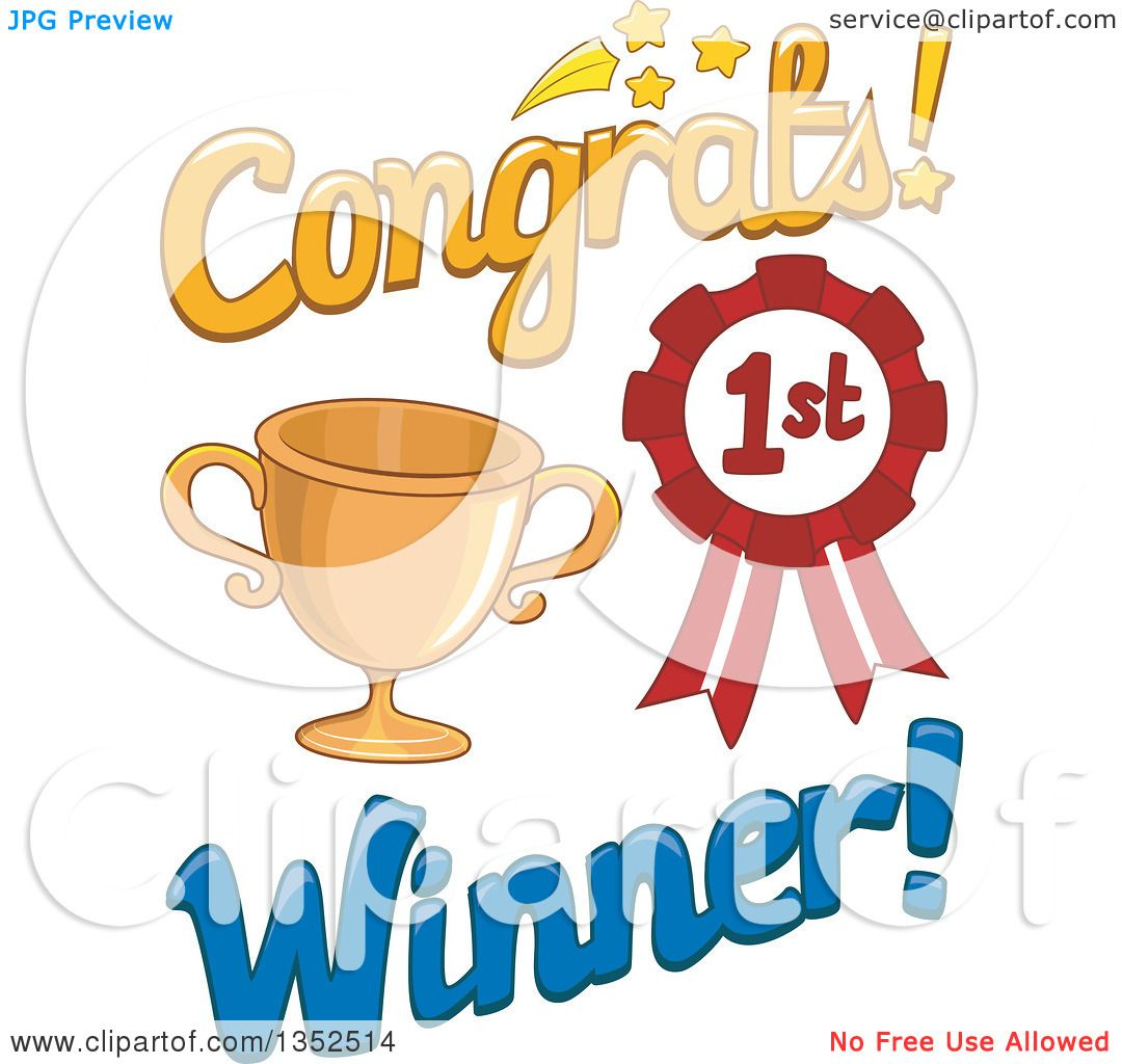 Clipart of a Congrats First Place Winner Design with a Trophy and ...