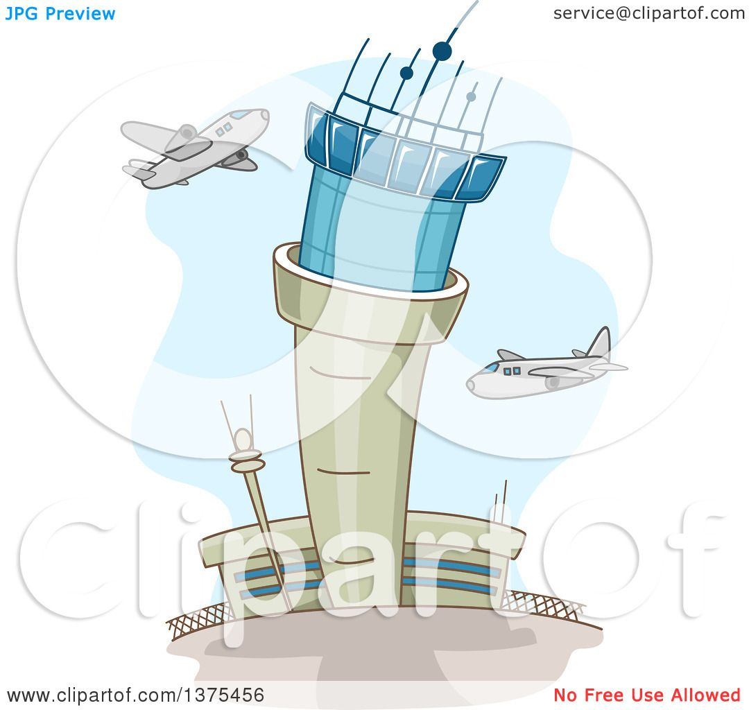 Clipart of a Control Tower and Airplanes at an Airport