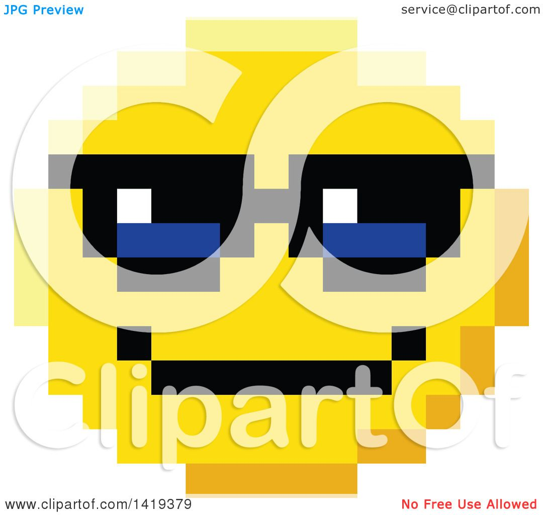 Clipart of a Cool 8 Bit Video Game Style Emoji Smiley Face ...